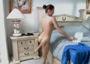 Tiny-titted ginger-head female demonstrates her pretty body and sucks dick