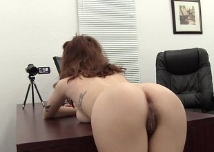 Bent over the desk and drilled her hairy ass
