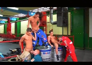 Alfredo Castaldo, Ettore Valentino, Antonio Carrigan and Evan Rochelle are wrapping up an thrilling day at the raceway, but the excitement isn't over yet.  After the racers go home, the staff get out of their jumpsuits and into each other, for this 22 minu