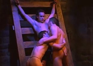Jason Hawke, Dane Brando and Gregg Rockwell bring us 26 minutes in the dungeon, for one damn sexy threesome!  The imagery will definitely work for anyone into the fleshly side of the kinky spectrum... but regardless, there's no denying these three dudes ar