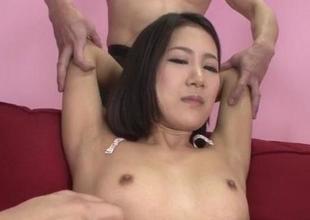 Arousing hardcore trio with petite tits Kyoka Sono