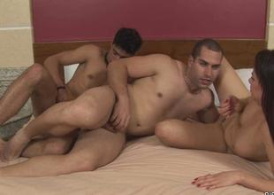 Floozy gets double permeated by 2 bisexual dudes