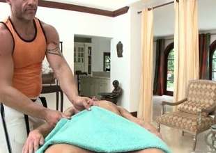 Stud gets willing for massage