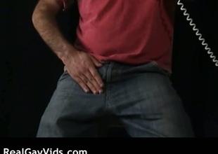Hairy dude masturbating his gay rod