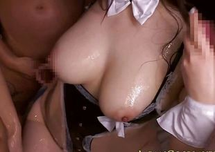 Busty japanese cosplay babe cocksucking