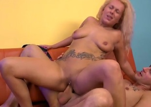 Nipp and clit rings on this fucked blonde girl