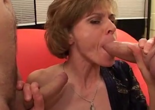 Two facual cumshots for a skinny milf cocksucker