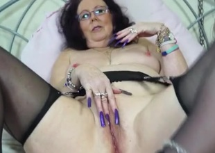 Insane long fingernails on a masturbating old lady