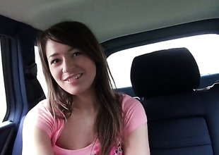 Amateur Anastasia in pink panties shows her fur pie in a car