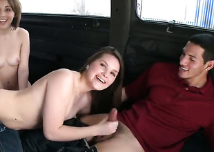 Topless girl gives oral on Bang Bus
