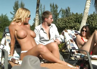 Blonde with juicy knockers and clean bush receives her pretty face covered in guy goo on camera for your viewing pleasure