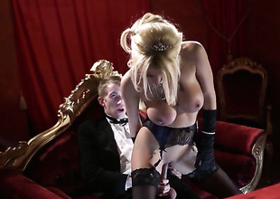 Danny D stretches dangerously seductive Tia Laynes mouth with his thick ram rod to the point of no return