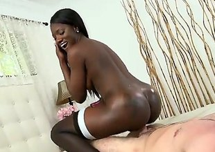 Mirko and Kay Love are on the bed. The huge ass ebony likes to be on top. She is having interracial sex with a white guy that is jamming his dick inside her pussy.
