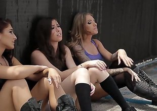 3 hawt ladies are having group sex with some guys. See 'em drilled in amazing positions. The women make loud moaning noises in this video.