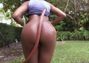 Young playful dark girl Aaliyah Grey with natural titties pulls down her panties and flaunts her sexy butt in the outdoors. Then she gives nice interracial blowjob to white guy indoors
