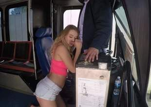 Lovely blonde slut Natalia Starr with big natural tits gets nude after hot oral job and takes mans meat pipe up her dripping moist pussy. She makes bus drivers sex dreams a reality!