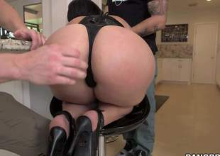 Valerie Kay is one curvy slut with a killer body! Shes got huge tits and a big, plump butt and shes gonna take on two big cum guns in this video, while shes wearing black lingerie