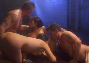 Two sinful brunettes India Summer and Kaylani Lei do it with 2 hot chaps in foursome orgy, They suck dicks like mad and then take throbbing ramrods up their dripping juicy pussies