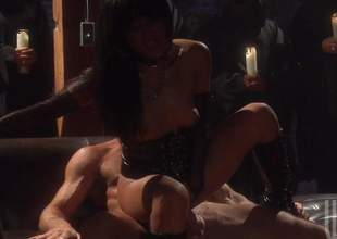 Kaylani Lei is a smoking hot sex starved exotic slut, Asian sweetheart in black boots and corset exposes her small a-hole and natural tits as she bounces up and down on rock solid cock. Hot woman!