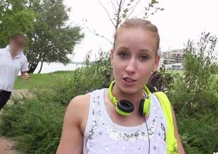 Cute European honey Minnie Manga with charing smile flashes her diminutive tits in the park for money. This sweet girl is ready to do dirty things on camera even in public place for cash
