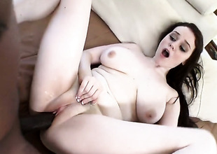 Brunette Tessa Lane with giant boobs and horny guy enjoy interracial sex they will never forget