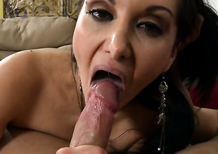 Brunette hair cutie Ava Addams with phat booty takes money shot on her eager face