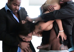 Asa Akira receives her mouth stretched by rock hard throbbing ram rod of hawt fellow