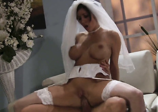 Unbelievably hot bombshell Dylan Ryder satisfies dudes sexual needs and then gets her nice face covered in cream