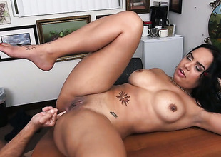 Brunette latin woman Sofia Char with giant hooters does lewd things and then gets her enchanting face dreamed in jizz