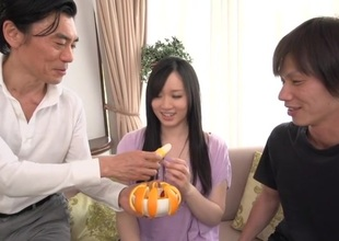 Lusty dudes fuck sweet Japanese sweetheart's fervently