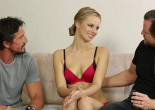 Crazy cuckold fuck where her husband watches her team fuck a guy