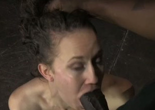 This submissive nympho uses no hands to give a sloppy blowjob