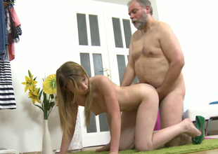 Fat old fart fucks tight pink pussy of cute Russian doll in a doggy position