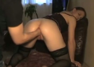 Spoiled wench in black stockings bends over for her BF so he can first her