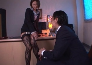 Lustful Brunette in nylons rides her boss cock doggy style