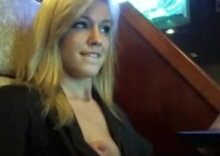 Pretty amateur blond is teasing in public place