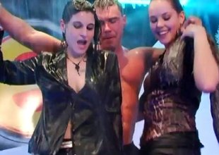 Passionate wet dancing with beautiful girls at a club