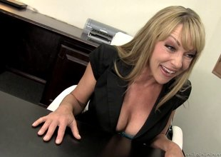 Lovable blonde milf takes a big dong up her juicy cunt after giving a hot blowjob