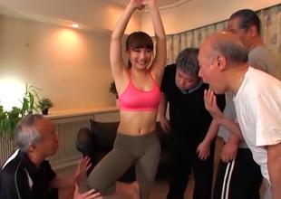 Naughty Asian Milf, Mao Kurata Team-fucked Hard By Old Dudes