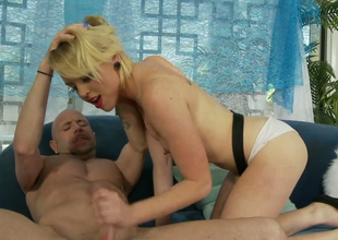 Alluring blond chick Miley May gets her shaved cunny group-fucked well