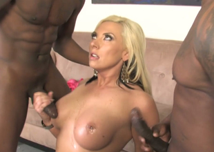 Excited blonde beauty Skylar Price copulates two black men