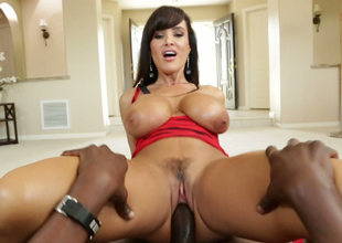 Nasty brunette bombshell rides big darksome cock like a true cowgirl