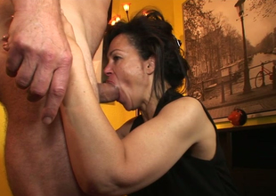 Aroused brunette hoe Elektra Lamour sucks and rides hard penis