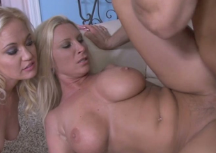 Hot blondies Devon Lee and Whitney Grace fuck one horny dude