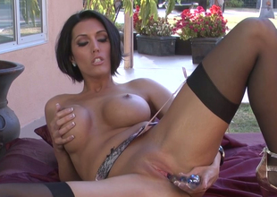 Sassy mommy with great body Dylan Ryder masturbates with glass dildo