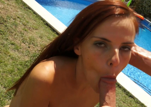 Twig white redhead bitch fed with a pecker by the pool