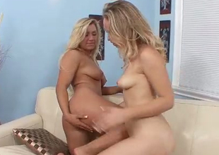 Blonde cutie and her delicious college girlfriend