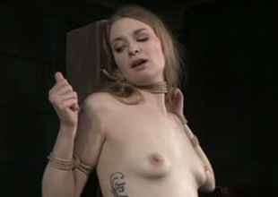 Pale skinned bitch Ela Darling is toy fucked in Sadomasochism porn video