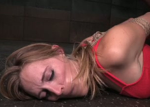Bondaged porn model Mona Wales is toy fucked in obscene Sadomasochism porn video