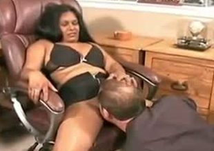 Chubby Indian girl is seduced for sex in the office by horny Caucasian boss